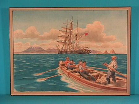 Painting of Barrett & crew on row boat