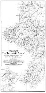 Taranaki coast and iwi boundaries beginning 19th century